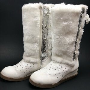 JUSTICE Faux Suede Boots in White with Glitter